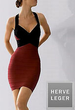 NEW HERVE LEGER COLOR-BLOCKED HALTER KNIT BANDAGE DRESS HRT6BD13 SZ: L $1250.00