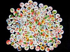 100 Pc 15mm WOODEN BUTTONS Xmas Christmas Mix Card Making Sewing Craft R178