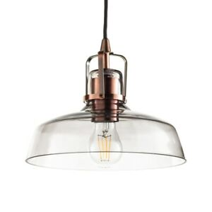 Glass Ceiling Pendant Fisherman Style E27 Fitting in Copper Litecraft