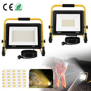 100-200W LED Fluter Flutlicht + Gelb Stativ Baustrahler Scheinwerfer mit Stecker