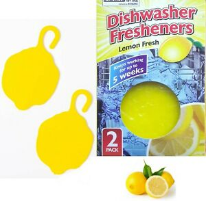 2 in 1 Dishwasher Freshener 2 Pack Lemon Fragrance Deodoriser Freshens Clip-On