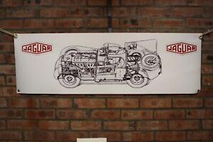 jaguar D Type large pvc banner work shop banner garage ect