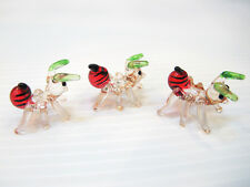 SET OF 3 TINY ANTS INSECT HAND CRAFTED MINIATURE HAND BLOWN ART GLASS FIGURINE