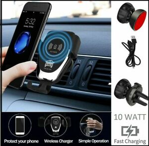 Universal Fast Qi Wireless Car Charger Charging Mount Holder Vent For Phones