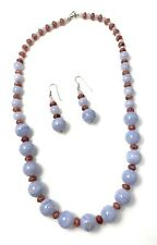 Sterling Silver Blue Lace Agate & Russian Ruby Gemstone Designer Necklace & Earr