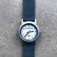 Vintage Timex Expedition Womens Watch Blue Nylon Strap And White Dial D-3