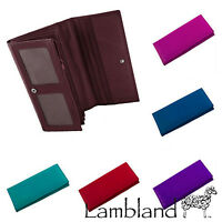 Ladies Large Cow Calf Leather Matinee Purse by Lorenz (Pink, Purple, Red, Navy)
