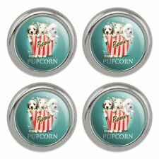 Pupcorn Movie Theater Popcorn Dogs Metal Craft Sewing Buttons - Set of 4