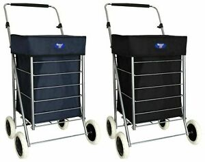 4 Wheel Shopping Trolley - Foldable Mobility Trolley - 47L Capacity Blue