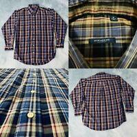 Burberry London Mens Button Down Dress Shirt Sz Medium Blue Tan Plaid USA Made