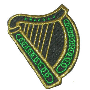 Iron On Applique - Irish Celtic Harp St Patricks 2 pieces