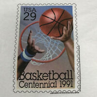 Basketball Centennial Stamp T Shirt Adult M White USPS 29 Cent Vintage 90s USA