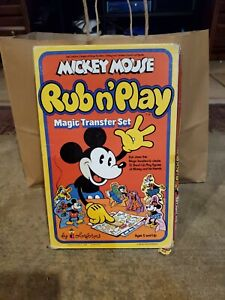 Vintage Mickey Mouse Rub n' Play Magic Transfer Set 1978 Colorforms Stand-up