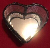 NICOLE MILLER HOME JEWELRY BOX HEART SHAPED MIRROR GLASS AND METAL TRINKET BOX