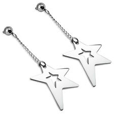 Ohrstecker Design Stern Edelstahl Silber lange Stecker Star ME 335