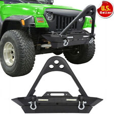 Rock Front Bumper Led Light & Winch Plate &D-rings for 87-06 Jeep Wrangler TJ YJ