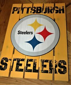 Pittsburgh Steelers man cave game room WOOD SIGN NEW with tags NFL Christmas