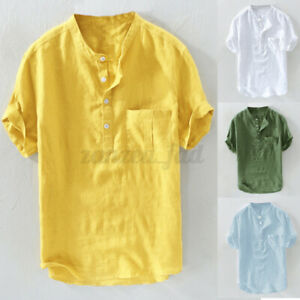 Yellow S Men Solid Casual Linen Breathable Collarless Shirt Short Sleeve T Shirt