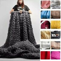 Large Warm Hand-Knitted Blanket Wool Thick Line Yarn Winter Chunky Sofa Throw