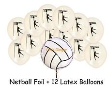 Netball Balloons Foil and 12 Latex Helium Girl Sports Balloon