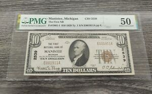 1929 $10 Manistee, Michigan Bank Note CH# 2539  PMG Certified AU50