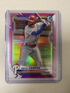 2021 Bowman Chrome Bryce Harper Pink Refractor #5/299 Philadelphia Phillies