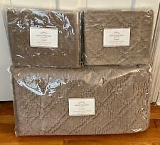 Pottery Barn Washed Velvet Silk Diamond Full Queen Quilt & 2 Standard Shams New