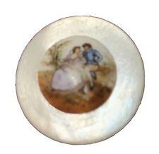 "PORCELAIN PEARL Button 1 1/6"" Painted VICTORIAN Couple"
