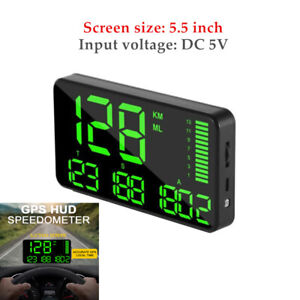 5.5'' Digital GPS Speedometer Car HUD Head Up Display Speed Display Alarm System