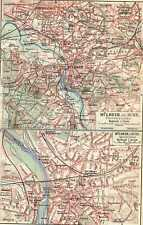 Antique map Mülheim an der Ruhr Germany Mullheim 1911