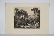 Les lavandières gravure XIX° de L Desbrosses d'ap. F Boucher scène champêtre