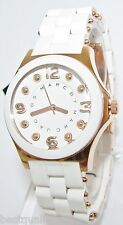 MARC JACOBS PELLY WHITE SILICONE WRAPPED ROSE GOLD TONE S/STEEL SM WATCH-MBM9022