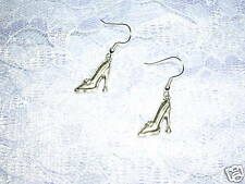 NEW SILVER TONE SHOES PUMPS HIGH HEEL CHARM EARRINGS