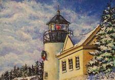Lighthouse Ocean Winter Snow  O/E Print  ACEO by Vicki