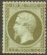 "FRANCE STAMP TIMBRE N° 19 "" NAPOLEON III 1c OLIVE DENTELE 1862 "" NEUF x TB"