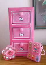 VINTAGE 1977 HELLO KITTY STICKERS COMPARTMENT BOX & DISPENSER & 2003 TIN CABINET