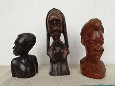 P0349 liasse: 3 x africaine personnages ~ ébène Ebony Holzfigur Afrique