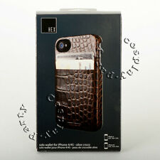 HEX Solo Wallet iPhone 4 & iPhone 4s Leather Case w/ID Card Slots - Olive Croco