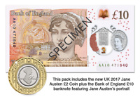 New £10 Note and £2 coin of Jane Austen Pack