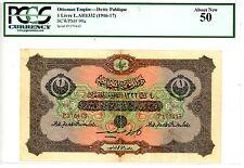 Turkey ... P-99a ... 1 Livre ... L.A.1332(1916-17) ... *AU* ... PCGS 50