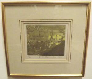 Framed Ltd. Ed. Pam Wright Wood-Cut Watercolour Engraving Picture 'Garden Steps'