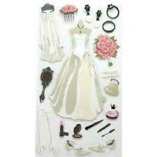 WEDDING BRIDE Gown Shoes Purse Gloves Ring Veil Bouquet Garter Sticko Stickers