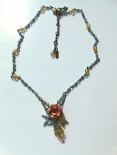 """COLLEEN TOLAND BRASS FLOWERS ROSE & GREEN BEADS NECKLACE 18"""" SIGNED"""