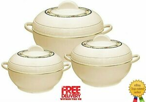 Ambiente Large Food Warmer 3pcs Hot Pot Set of Insulated Casseroles, 6,8,10L Cre