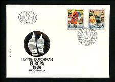 Postal History Yugoslavia Fdc #1784-1785 Yachts railboat regatta race 1986