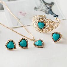 Women Jewelry Set Heart Turquoise Party Crystal Necklace Earrings Bracelet Ring