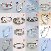 Solid Sterling Silver 925 Adjustable Open Band Thumb Midi Ring Lady Gift Finger