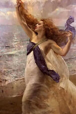 Oil painting hermann jean joseph richir - la femme au voile nide lady by beach