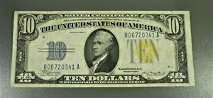 1934-A $10 NORTH AFRICA Yellow Seal Silver Certificate B06720341A