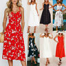 Women Boho Floral Midi Dress Summer Cold Shoulder Strapped Dresses Casual Beach